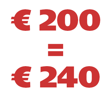€ 200 = € 240