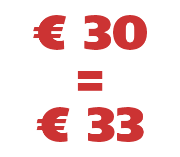 € 30 = € 33
