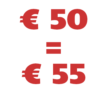 € 50 = € 55